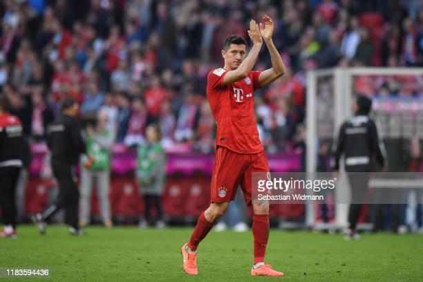 Robert Lewandowski of Bayern Munich applauds his fans after the Bundesliga match between FC Bayern Muenchen and 1. FC Union Berlin at Allianz Arena...