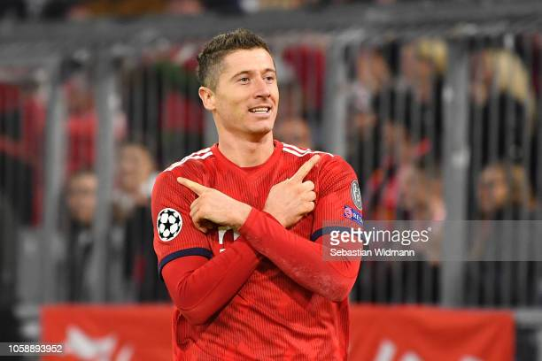 Robert Lewandowski of Bayern Munich celebrates after he scores his sides second goal during the UEFA Champions League Group E match of the between FC...