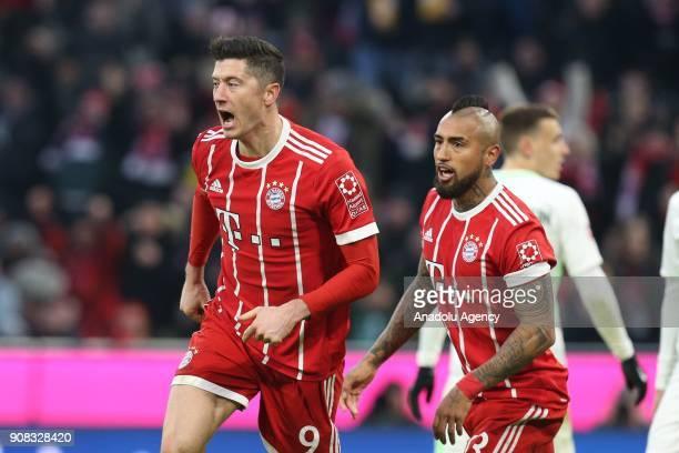 Robert Lewandowski of Bayern Munich celebrates after scoring a goal during a Bundesliga match between FC Bayern Munich and SV Werder Bremen at the...