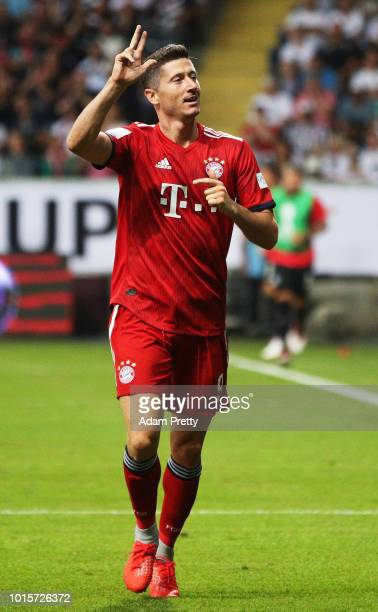 Robert Lewandowski of Bayern Munich celebrates after scoring his third goal during the DFL Supercup 2018 match between Eintracht Frankfurt and Bayern...