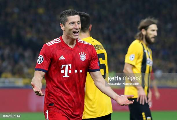 Robert Lewandowski of Bayern Munich celebrates after scoring his team's second goal during the Group E match of the UEFA Champions League between AEK...