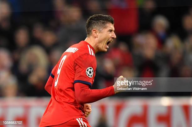 Robert Lewandowski of Bayern Munich celebrates after scoring his team's first goal during the UEFA Champions League Group E match of the between FC...