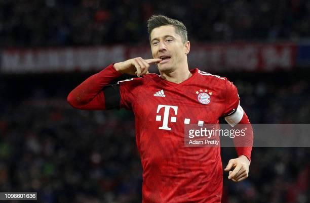 Robert Lewandowski of Bayern Munich celebrates after scoring his team's second goal during the Bundesliga match between FC Bayern Muenchen and FC...