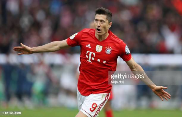 Robert Lewandowski of Bayern Munich celebrates after scoring his team's first goal during the DFB Cup final between RB Leipzig and Bayern Muenchen at...