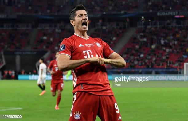 Robert Lewandowski of Bayern Munich celebrates after scoring his team's second goal that was later disallowed during the UEFA Super Cup match between...