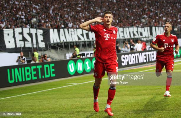 Robert Lewandowski of Bayern Munich celebrates after scoring the first goal during the DFL Supercup 2018 match between Eintracht Frankfurt and Bayern...
