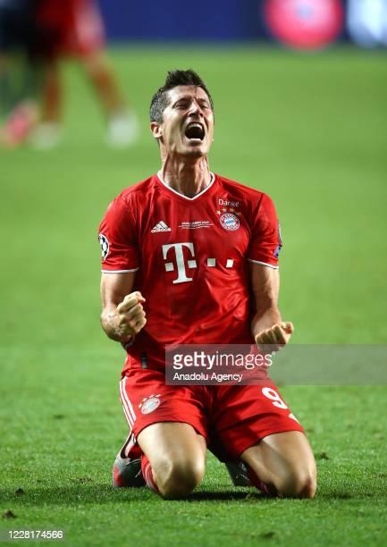 Robert Lewandowski of Bayern Munich celebrates at the end of the UEFA Champions League final football match between Paris SaintGermain and Bayern...