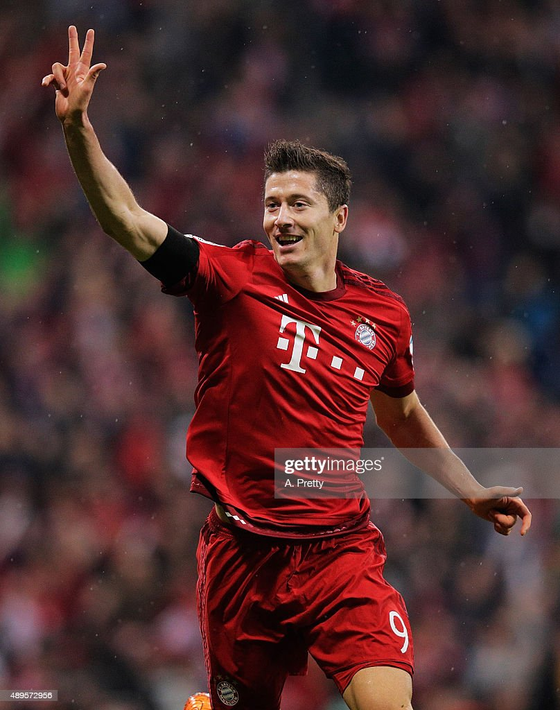 Robert Lewandowski of Bayern Munich celebrates scoring his 3rd goal during the Bundesliga match between FC Bayern Muenchen and VfL Wolfsburg at Allianz Arena on September 22, 2015 in Munich, Germany.