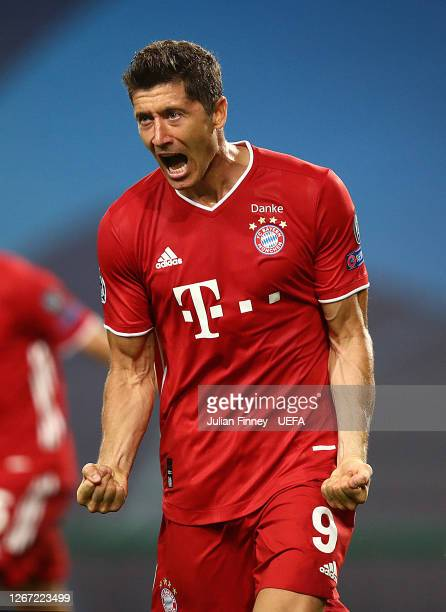 Robert Lewandowski of Bayern Munich celebrates scoring his team's third goal during the UEFA Champions League Semi Final match between Olympique...