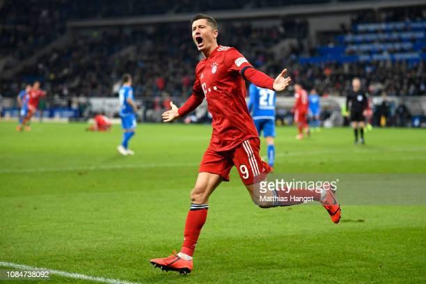 Robert Lewandowski of Bayern Munich celebrates scoring the 3rd Bayern Munich goal during the Bundesliga match between TSG 1899 Hoffenheim and FC...