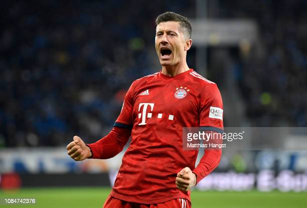 Robert Lewandowski of Bayern Munich celebrates scoring the 3rd Bayern Munich goal during the Bundesliga match between TSG 1899 Hoffenheim and FC...
