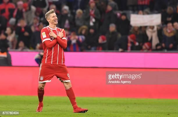 Robert Lewandowski of Bayern Munich celebrates their goal during the Bundesliga soccer match between FC Bayern Munich and FC Augsburg at the Allianz...