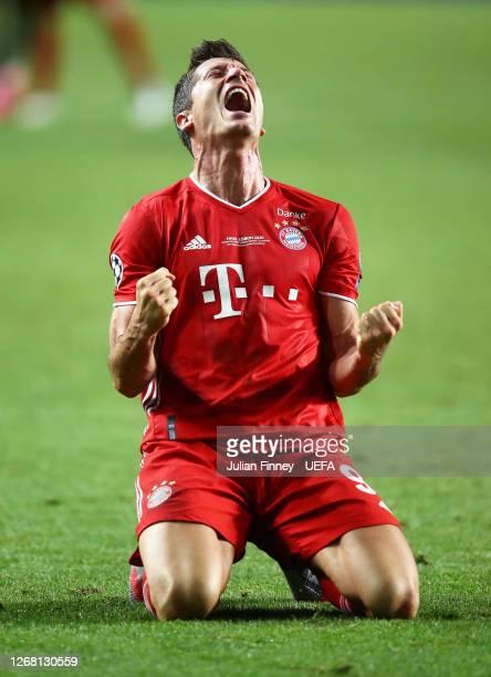 Robert Lewandowski of Bayern Munich celebrates victory at full time during the UEFA Champions League Final match between Paris Saint-Germain and...
