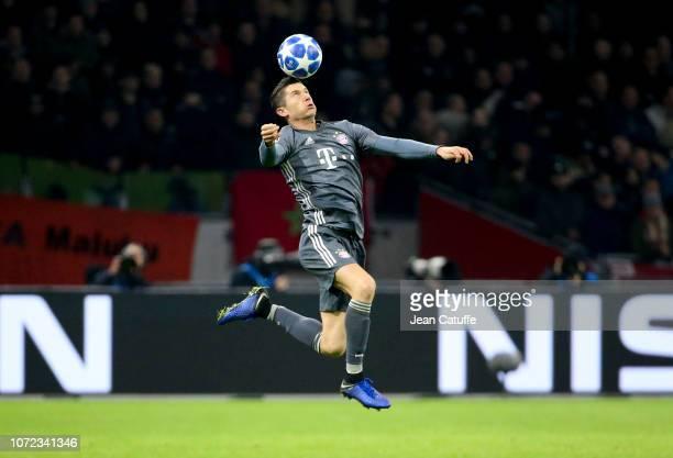 Robert Lewandowski of Bayern Munich during the UEFA Champions League Group E match between Ajax and FC Bayern Munich at Johan Cruyff Arena on...