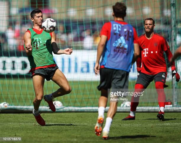 Robert Lewandowski of Bayern Munich in action during FC Bayern Muenchen pre season training on August 9, 2018 in Rottach-Egern, Germany.