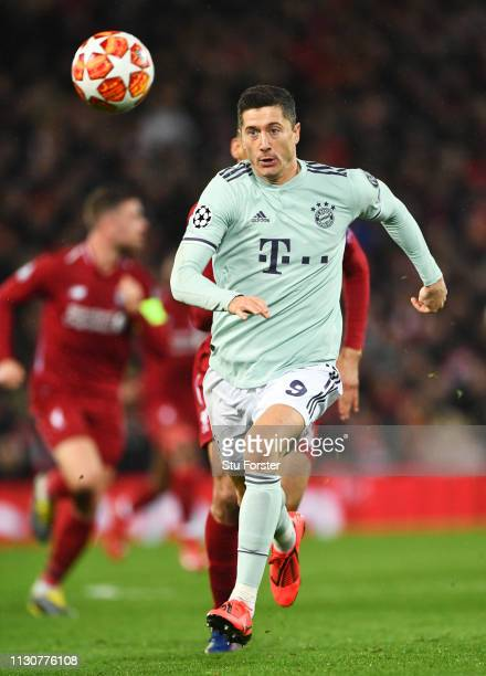 Robert Lewandowski of Bayern Munich in action during the UEFA Champions League Round of 16 First Leg match between Liverpool and FC Bayern Muenchen...