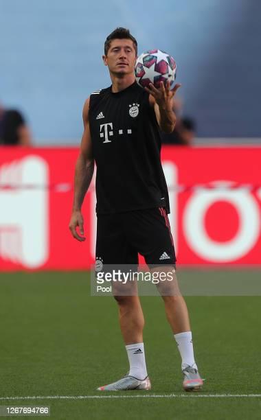 Robert Lewandowski of Bayern Munich looks on during a training session ahead of their UEFA Champions League Final match against Paris Saint-Germain...