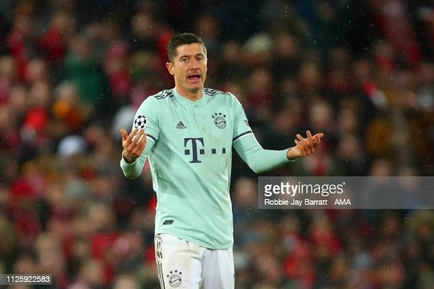 Robert Lewandowski of Bayern Munich reacts during the UEFA Champions League Round of 16 First Leg match between Liverpool and FC Bayern Muenchen at...