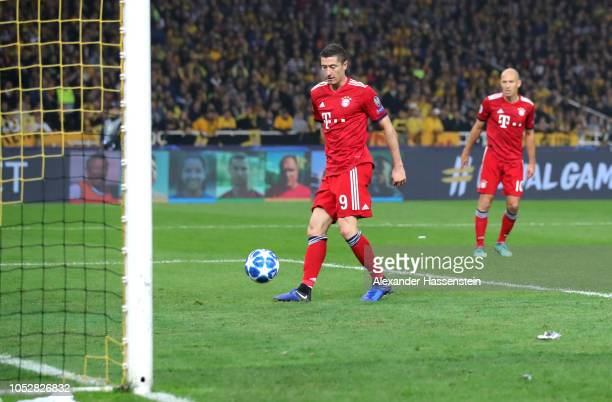Robert Lewandowski of Bayern Munich scores his team's second goal during the Group E match of the UEFA Champions League between AEK Athens and FC...