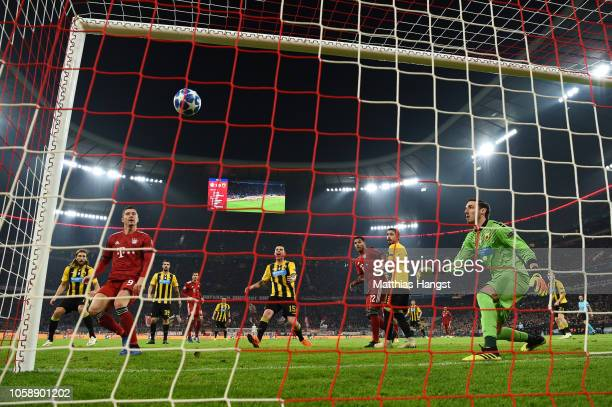 Robert Lewandowski of Bayern Munich scores his team's second goal during the UEFA Champions League Group E match of the between FC Bayern Muenchen...