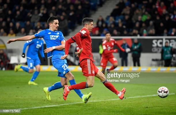 Robert Lewandowski of Bayern Munich scores the 3rd Bayern Munich goal during the Bundesliga match between TSG 1899 Hoffenheim and FC Bayern Muenchen...