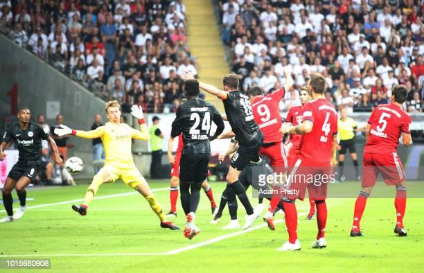Robert Lewandowski of Bayern Munich scores the second goal during the DFL Supercup 2018 match between Eintracht Frankfurt and Bayern Muenchen at...