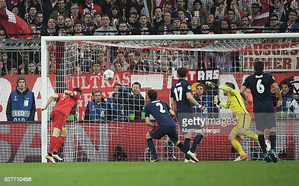 Robert Lewandowski of Bayern Munich scores their second goal with a header during UEFA Champions League semi final second leg match between FC Bayern...