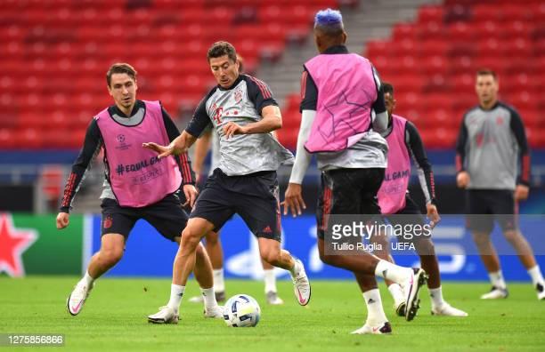 Robert Lewandowski of Bayern Munich trains during the Bayern Munich Training Session ahead of the UEFA Super Cup Final between Sevilla and Bayern...