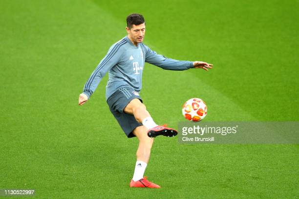 Robert Lewandowski of Bayern Munich trains during the FC Bayern Muenchen Training Session ahead of the UEFA Champions League Round of 16 First Leg...