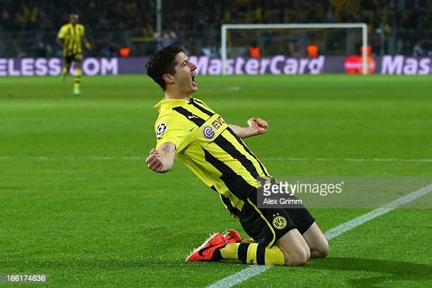 Robert Lewandowski of Borussia Dortmund celebrates scoring their first goal during the UEFA Champions League quarterfinal second leg match between...