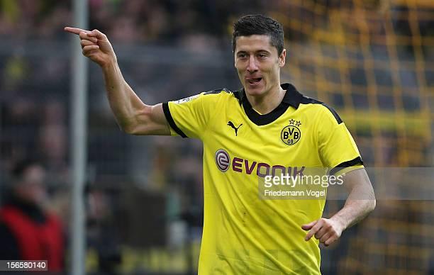Robert Lewandowski of Dortmund celebrates after scoring the opening goal of the Bundesliga match between Borussia Dortmund and SpVgg Greuther Fuerth...