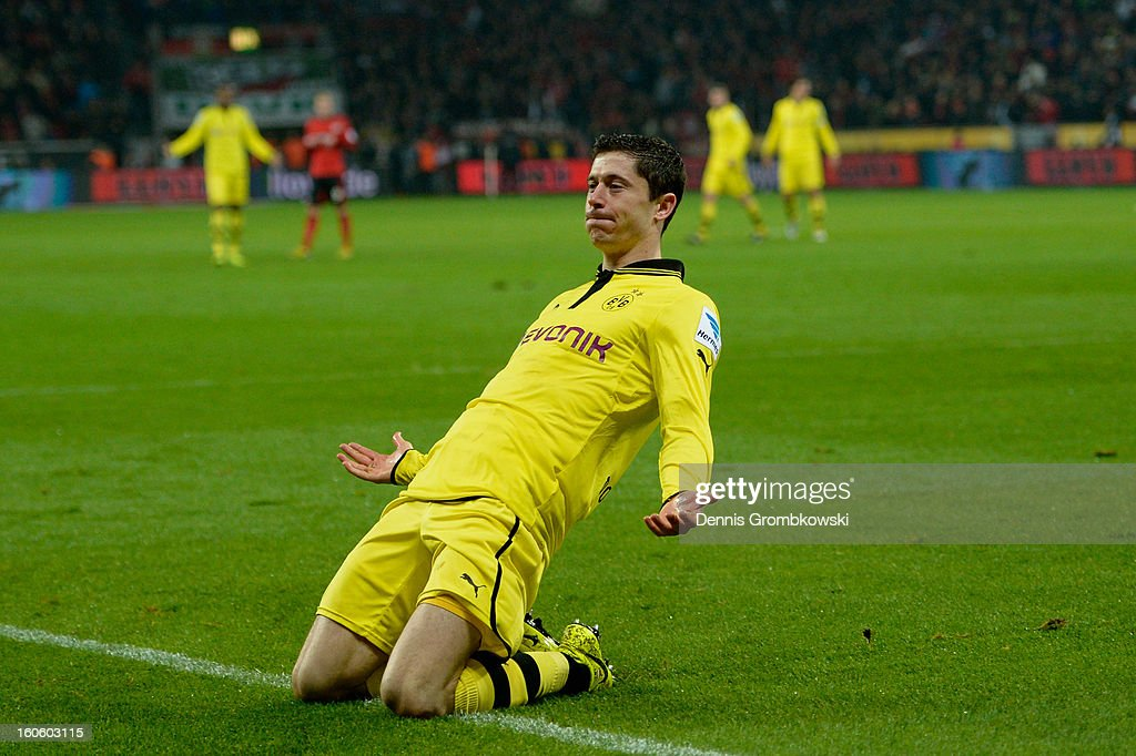 Robert Lewandowski of Dortmund celebrates during the Bundesliga match between Bayer 04 Leverkusen and Borussia Dortmund at BayArena on February 3, 2013 in Leverkusen, Germany.