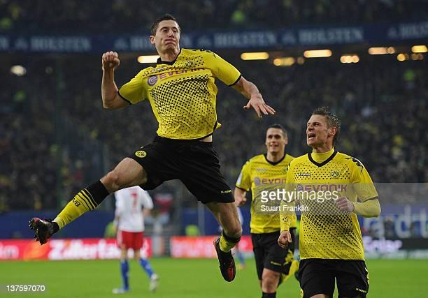 Robert Lewandowski of Dortmund celebrates his goal during the Bundesliga match between Hamburger SV and Borussia Dortmund at Imtech Arena on January...