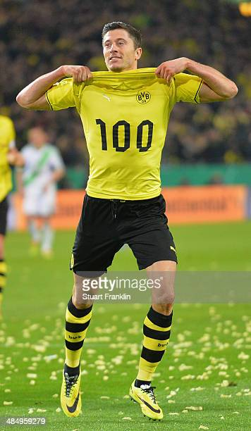 Robert Lewandowski of Dortmund celebrates scoring his goal during the DFB Cup semi final match between Borussia Dortmund and VfL Wolfsburg at Signal...