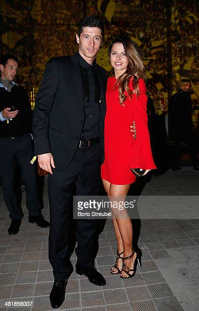 Robert Lewandowski of Dortmund pose with his wife Anna Stachurska during the Borussia Dortmund Champions party after the DFB Cup final 2014 at...