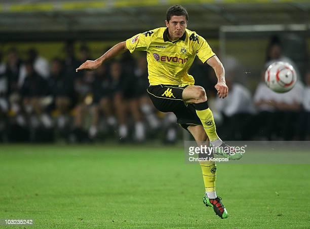 Robert Lewandowski of Dortmund shoots a ball during the pre-season friendly match between Borussia Dortmund and Manchester City at Signal Iduna Park...