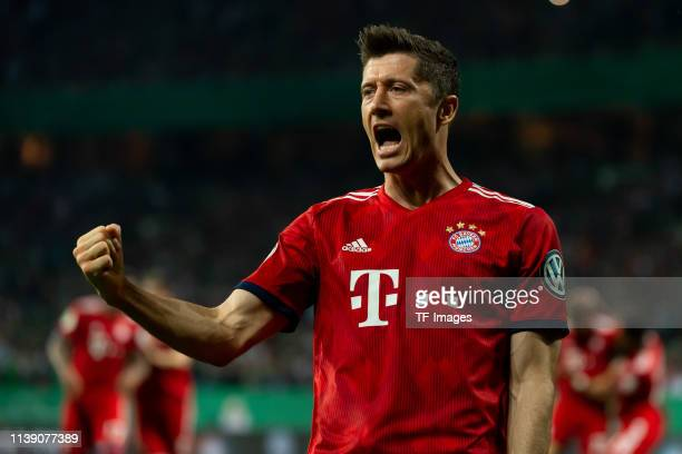 Robert Lewandowski of FC Bayer Muenchen celebrates after scoring his team's first goal during the DFB Cup semi final match between Werder Bremen and...