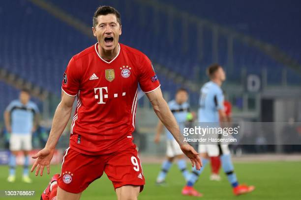 Robert Lewandowski of FC Bayern München celebrates scoring the first team goal during the UEFA Champions League Round of 16 match between Lazio Roma...