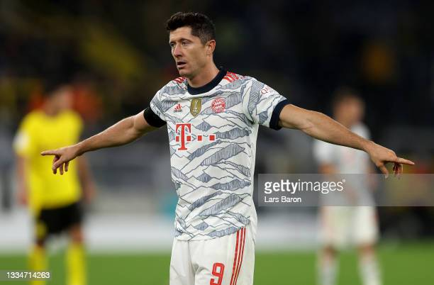 Robert Lewandowski of FC Bayern München reacts during the Supercup 2021 match between FC Bayern München and Borussia Dortmund at Signal Iduna Park on...