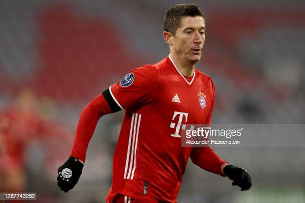 Robert Lewandowski of FC Bayern München runs during the UEFA Champions League Group A stage match between FC Bayern Muenchen and RB Salzburg at...