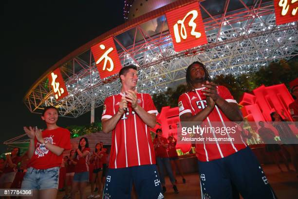 Robert Lewandowski of FC Bayern Muenchen and his team mate Renato Sanches visiting the Shanghai Oriental Pearl Tower during the Audi Summer Tour 2017...