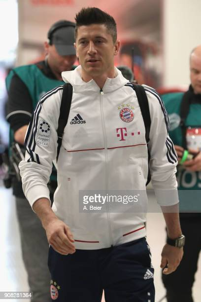 Robert Lewandowski of FC Bayern Muenchen arrives at the players' tunnel for the Bundesliga match between FC Bayern Muenchen and Werder Bremen at...