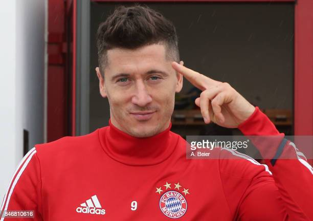 Robert Lewandowski of FC Bayern Muenchen arrives for a training session at the club's Saebener Strasse training ground on September 14 2017 in Munich...
