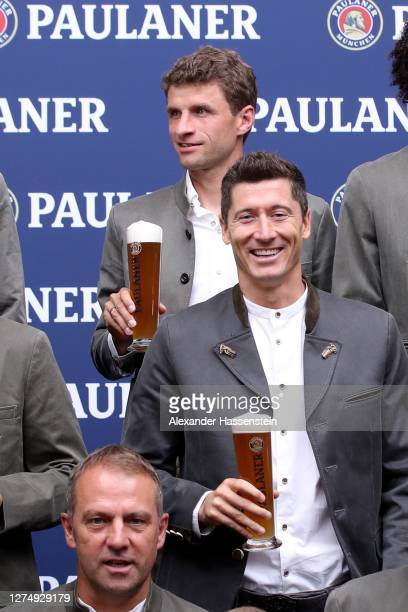 Robert Lewandowski of FC Bayern Muenchen attends the FC Bayern Muenchen and Paulaner photo session at Nockherberg on September 21 2020 in Munich...