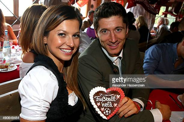 Robert Lewandowski of FC Bayern Muenchen attends with Anna Stachurska the Oktoberfest 2015 Beerfestival at Kaefer Wiesenschaenke at Theresienwiese on...