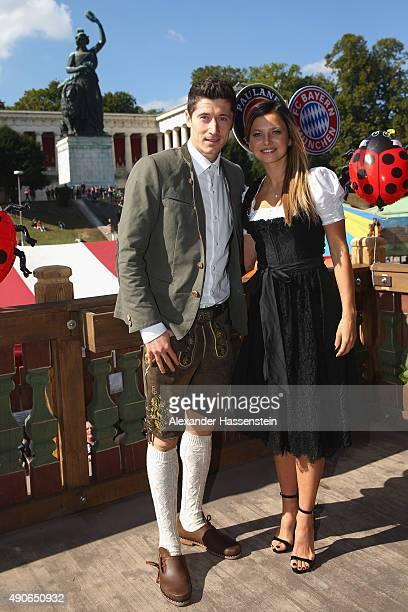 Robert Lewandowski of FC Bayern Muenchen attends with Anna Stachurska the Oktoberfest 2015 Beerfestival at Kaefer Wiesenschaenke at Theresienwiese on...