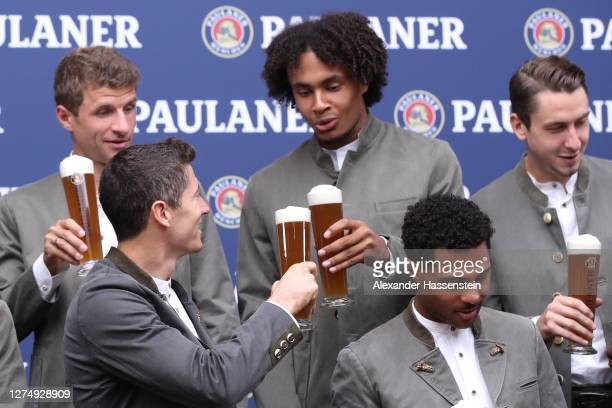 Robert Lewandowski of FC Bayern Muenchen attends with his team mate Joshua Zirkzee the FC Bayern Muenchen and Paulaner photo session at Nockherberg...