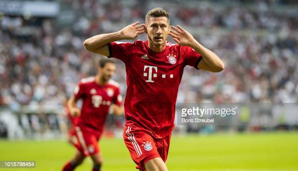 Robert Lewandowski of FC Bayern Muenchen celebrates after scoring his second goal during the DFL Supercup 2018 match between Eintracht Frankfurt and...