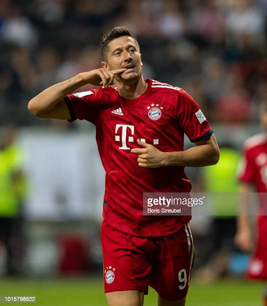 Robert Lewandowski of FC Bayern Muenchen celebrates after scoring his third goal during the DFL Supercup 2018 match between Eintracht Frankfurt and...