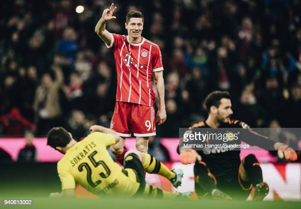 Robert Lewandowksi of FC Bayern Muenchen celebrates after scoring his team's sixth goal during the Bundesliga match between FC Bayern Muenchen and...